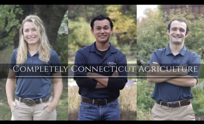 three students with words Completely Connecticut Agriculture over the photos